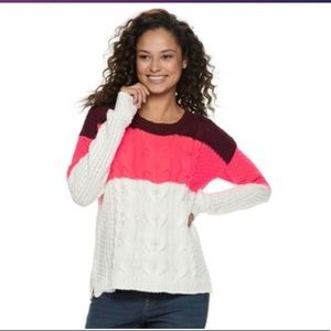 Cable Knit Sweater-NWT-Burgundy & Pink; Sz: XS JR